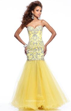 yellow convertible mermaid style prom dress with beaded dress