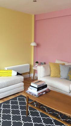 Pink and yellow bedroom - Airbnb apartment super kitsch in margate Bedroom Door Design, Bedroom Wall Colors, Home Room Design, Bedroom Decor, Yellow Bedroom Paint, Comfy Bedroom, Bedroom Furniture, Bedroom Ideas, Master Bedroom