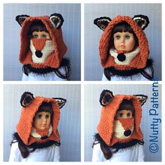 FOX HOODED COWL is cute, comfy + super functional both for girls and boys. It is a cowl, a hood, a neck warmer, an ear warmer and even a nose warmer : )) all in one. Leaves no gate to cold air : ))
