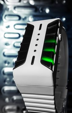 The new LED watch from Tokyoflash Japan. Available in black or white with a choice of blue or green LEDs, Kisai Clone is finished in a combination of clean matte surfaces with deep gloss detail on the smoked lenses through which vivid LED light glows to show the time.
