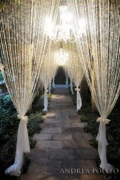 Dramatic crystal beaded curtains and lighting