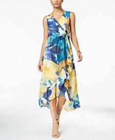 a5c5641327 Shop Calvin Klein Printed Chiffon Faux-Wrap Dress