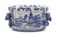 Unique Blue & White Blue Willow Crackle Finish Porcelain Oval Flower Pot
