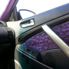 '04 Infiniti G35 coupe Car interior - purple iridescent overlayed with black lace. Girl customed (by Alicia Battilana).  IG: g35_girl84