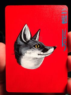 RedFox Illustration portrait  on a playing cards. Original acrylic painting. 2013 on Etsy, $12.00