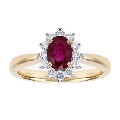 This 18kt white and yellow gold ring, from the Birks Collection, features 1 oval cut ruby with a carat weight of 1.08 and 12 round cut diamonds with a total carat weight of .37, colour grade GH and clarity SI1.