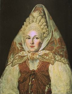 """Russian costume in painting. """"A Woman from Toropets Town in a Pearl Kokoshnik…"""