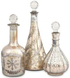 Audrey Etched Decanters - Set of 3