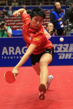 Gue Yue of China plays a backhand during her match against Li Jiawei of Germany and winning the LIEBHERR table tennis team world cup 2012 championship division women's final match.