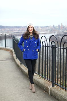 Cobalt Blue Stadium Cloth Peacoat from J.Crew. Stay warm and stylish this winter in a colorful coat!