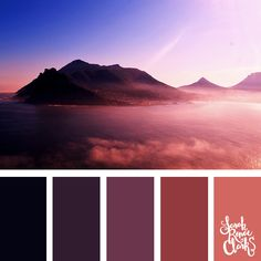 Amazing pink mountains color inspiration | Click for more color combinations inspired by beautiful landscapes and other coloring inspiration at https://sarahrenaeclark.com | Colour palettes, colour schemes, color therapy, mood board, color hue