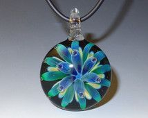 Floral Glass Pendant, Blue, Green, Air Trap, Round - flamework, lampwork, borosilicate