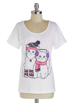 In With the Mew Top - White, Purple, Pink, Black, Quirky, Cats, Short Sleeves, Winter, Scoop, Print with Animals, Casual