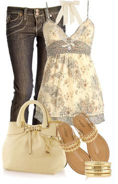 """Beige Floral Top"" by elenh2005 on Polyvore"