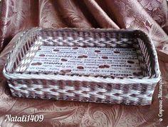 Поделка изделие Декупаж Плетение Выполняю обещание +   Бумага газетная Салфетки Трубочки бумажные фото 13