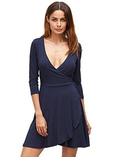 c1cf20deb1 Verdusa Womens Deep V Neck 34 Sleeve Fit and Flare Wrap Waist Split Flowy  Party Dress Navy L -- Be sure to check out this awesome product.