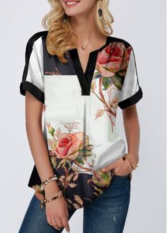 Tops For Women Flower Print Notch Neck Short Sleeve Blouse Trendy Tops For Women, Blouses For Women, Stylish Tops, Printed Blouse, Printed Shorts, Blouse Styles, Black Blouse, Short Sleeve Blouse, Sleeves