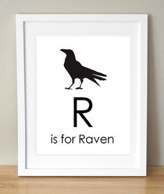 R is for Raven 8x10 Art Print Personalized Baby Kids Nursery Decor