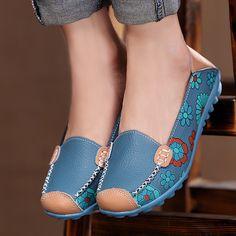 2017 spring women genuine leather shoes slip-on ballet women flats print woman shoes 4 colors moccasins ladies shoes 3591W