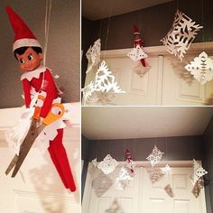 Kids are crazy for Elf on the Shelf, but for parents, it can be equal parts fun and formidable. Who hasn't spaced out about moving the elf one night only to be Elf On The Shelf, Shelf Elf, Advent, Christmas Holidays, Christmas Crafts, Happy Holidays, Snowflake Craft, Paper Snowflakes, Holiday Fun
