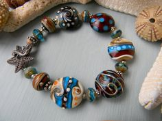 Where the Earth Meets the Sea  Artisan Lampwork Bracelet   By:  Fire-Imp Lampwork Beads
