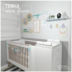 Tenha essa decor: Quarto bebê | CDA projetos detalhes de um projeto lindo e cheio de fofurices Mini Cama, Baby Room, Cribs, Bed, Table, Furniture, Home Decor, Mini Crib, Half Walls