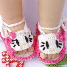 Lovely New Catty estilo hechas a mano del ganchillo zapatos de bebé para el verano