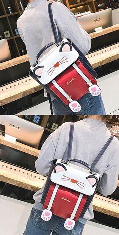 0bc6f6fca9 Cute Cartoon Sweet Animal Kitten School Bag Cat Girl Backpack
