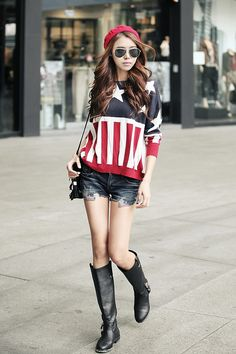 I would have worn short black boots with black knee high socks maybe but still cute! X3