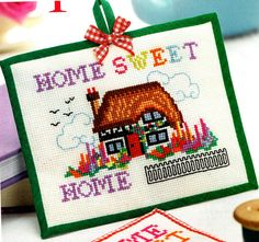 PDF Gorgeous 'Home Sweet Home' Snow-White Tudor Cottage Cross Stitch Pattern, soo... Pretty & Colourful, Homely Design, Keepsakex