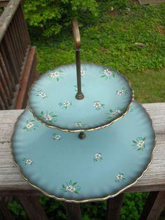 Vintage James Kent Old Foley 2 tier serving plate cake plate.