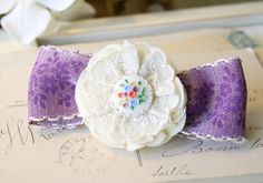 Flower Girl Hair Barrette - Purple Ribbon Bow and Ivory Fabric Flower