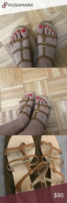 Summer sandals Brown leather sandals with gold details . Size 6. Salvatore Ferragamo Shoes Flats & Loafers