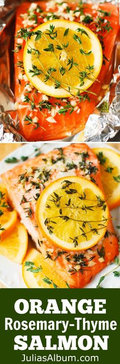 Orange Rosemary Thyme Garlic Baked Salmon Gluten Free Healthy Fish Dinner Recipe