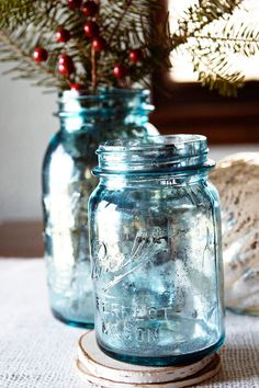DIY mercury glass - on blue mason jars