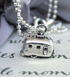 Retro Airstream Camper Sterling Silver - Let's Go Camping