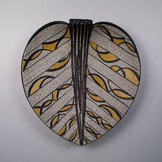 Large handpainted leaf dish. Ruscha, Germany.