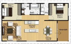 Container House - Redgum 84 bedroom) – Atlas Living - Who Else Wants Simple Step-By-Step Plans To Design And Build A Container Home From Scratch? Small House Floor Plans, Modern House Plans, Granny Flat Plans, House With Granny Flat, Plan Chalet, 2 Bedroom House Plans, 2 Bedroom House Design, Casas Containers, Cottage Plan