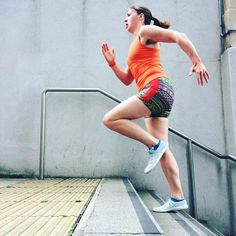 Running a fierce stair session in my favourite summer running combo - an orange VNA Top and booty length Duathlon Shorts Tempo Run, Workout Tops, Evening Gowns, Booty, V Neck, Running, Orange, Patterns, My Favorite Things