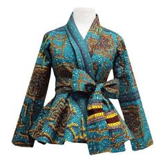 Diola African Print Peplum Blazer (Teal/Yellow) ❤ liked on Polyvore featuring outerwear, jackets, blazers, peplum blazer jacket, teal blue jacket, long sleeve blazer, blue blazer and blue jackets