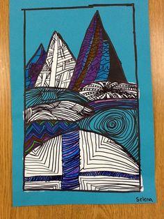 "Zentangle landscapes-- free choice option, ""japan"" island activity, first week of school activity Aboriginal Symbols, Aboriginal Art, Third Grade Art, Grade 3, Art Lessons Elementary, Primary Lessons, Art Classroom, Future Classroom, Mexican Art"