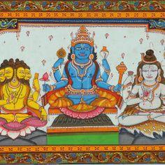 lord Brahma Vishnu Mahesh paint images