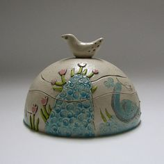 Lidded cookie vessel  with peacock and flowers by TikaCeramics, €62.00