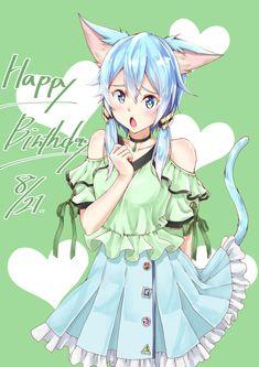 Anime Girl Neko, Anime Girl Cute, Anime Chibi, Kawaii Anime, Manga Anime, Anime Art, Shino Sao, Sinon Ggo, Asada Shino