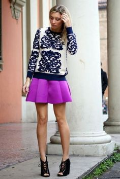 fuchsia skirt and navy sweater