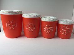 Orange Lustro Ware Canister Set.  Set of 4 $35.00