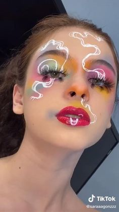 Edgy Makeup, Makeup Eye Looks, Crazy Makeup, Cute Makeup, Pretty Makeup, Makeup Inspo, Makeup Inspiration, Weird Makeup, Tribal Makeup