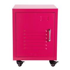Table de chevet à roulettes en métal rose L 37 cm Loft | Maisons du Monde