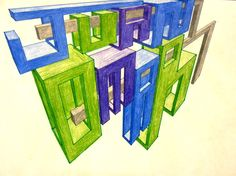 Your goal is to create an artwork that demonstrates at least 30 accurate forms in linear perspective. You can use two- or three-point. Middle School Art, Art School, High Art, Jr High, Three Point Perspective, Perspective Drawing Lessons, Arts Ed, Poster On, Art Lessons