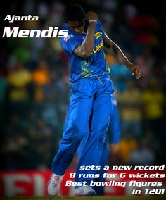 Ajanta Mendis declared as the Player of the match for taking 6 wickets at the cost of 8 runs, and setting a new T20I record!